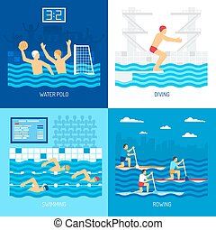 Water Sport Concept - Water sport concept with polo swimming...
