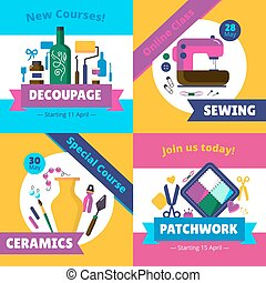 Hobby Workshop Courses 4 Flat Icons
