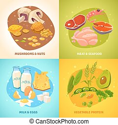 Protein Food Concept 4 Icons square - Protein rich food...