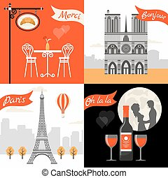 France Paris Retro Style Concept with triumphal arch eiffel...