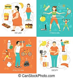 Obesity And Health Concept - Obesity and health concept with...