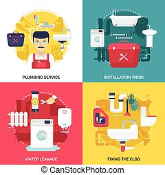 Plumbing Service 4 Flat Icons Square - Clogged drains...