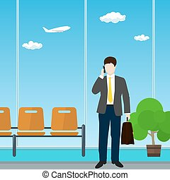Airport , Waiting Room with Businessman - Man with a...