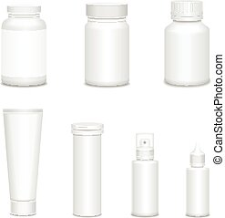 Medicine blank white bottles set for sprays and pills...