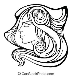 Vector decorative portrait of shaman girl with long hair...