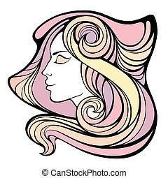 Vector decorative portrait of shaman girl with color long...