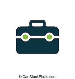 Bag Flat icon and Logo design green, blue color
