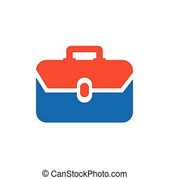 Bag Flat icon and Logo vector blue, orange