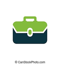 Bag Flat icon and Logo vector green, blue color