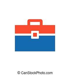 Bag Flat icon and Logo  blue, orange
