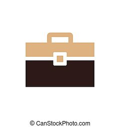 Bag Flat icon and Logo brown color