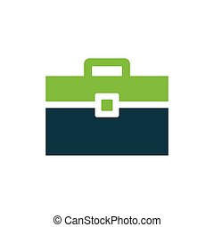 Bag Flat icon and Logo green, blue color