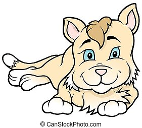 Kitten Laying - Colored Cartoon Illustration, Vector