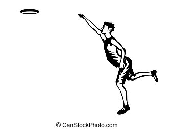 frisbee, silhouette of man and disk on white background