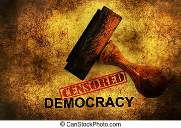 censurado, democracia, Grunge, concepto