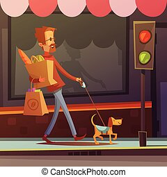 Blind Man Illustration - Color cartoon illustration...