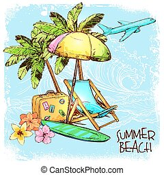 Summer Beach Concept - Summer beach concept with sketch palm...