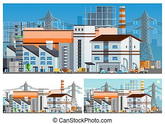 Industrial Buildings Compositions Set