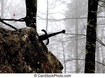 meio, pedra,  Excalibur, espada, legendário