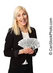 Good looking businesswoman and cash - Attractive...