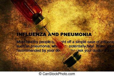 influenza, y, pneumonia, Grunge, concepto