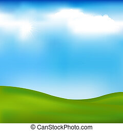Background With Landscape – Hills, Blue Sky And Clouds