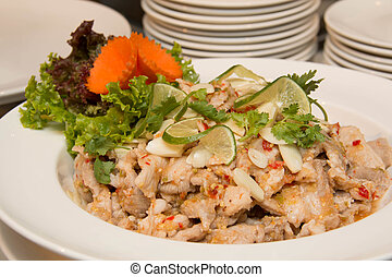 Spicy pork salad is thai food that savor sour and spicy
