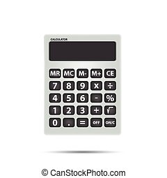 White calculator object for calculating on white background vector. Math and Object Concept.
