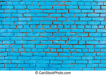 blue painted brick wall texture background