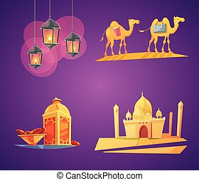 Ramadan Cartoon Icons - Color cartoon retro composition 2x2...