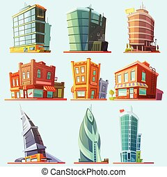 Distinctive modern and old buildings icons set - Historical...