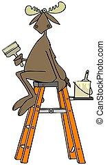Moose sitting on a stepladder