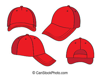 Blank Red Caps - Blank Cap (different points of view) With...