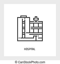 Hospital icon Vector illustration Flat - Hospital icon...