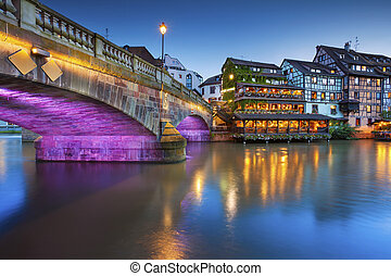 Strasbourg - Image of Strasbourg old town during twilight...
