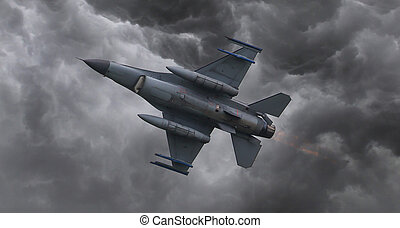Fighter jet flying fast in the middle of a storm