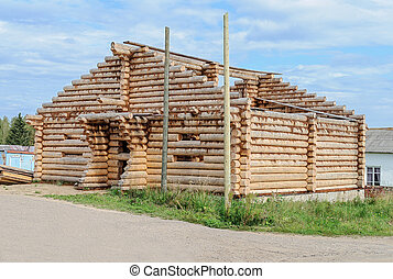 Construction of log wooden house - Construction of new log...