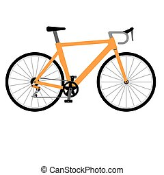 Road racing bike isolated on white background