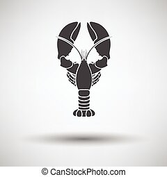 Lobster icon on gray background, round shadow. Vector...