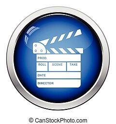 Movie clap board icon Glossy button design Vector...