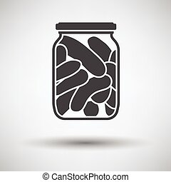 Canned cucumbers icon on gray background, round shadow...