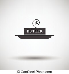 Butter icon on gray background, round shadow Vector...