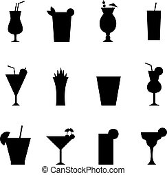 Set of different alcohol drink bottle and glasses vector...
