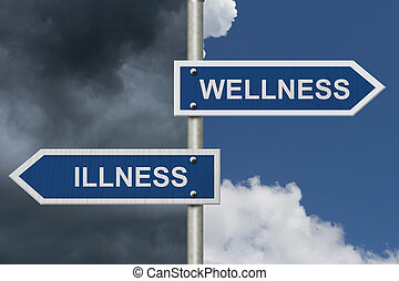 Being Well versus having an Illness, Two Blue Road Sign with...