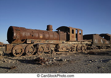 Old rusty steam engine in Bolivian Highland