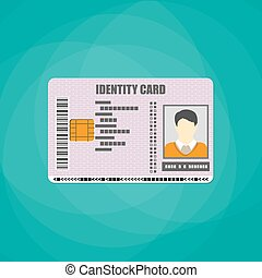 Identification card with barcode, electronic chip