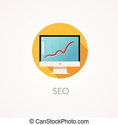 SEO result Icon Flat design style with long shadow...