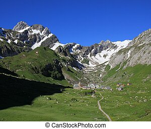 Meglisalp and Mt Altmann - Spring scene in Appenzell Canton,...