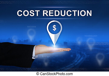 cost reduction button on blurred background - cost reduction...
