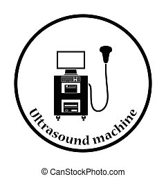 Ultrasound diagnostic machine icon Thin circle design Vector...